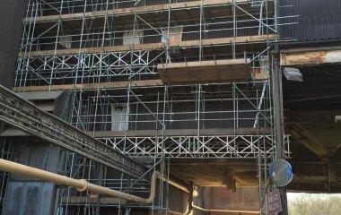 industrial scaffolding maintenance work on malt factory